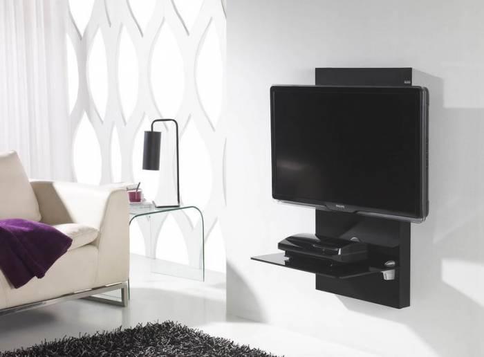Meuble tv mural pour cran plasma lcd gisan sm105ne for Support tv bois