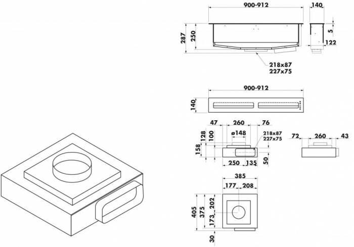Hotte plan de travail airone titan 90 cm coloris noir - Plan de travail 80 cm largeur ...
